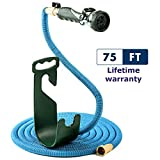 Expandable & Flexible Water Hose with Brass Fittings, High Pressure Spray Nozzle Attachment, On/Off Valve & Yard Hose Hanger Wall Mount, Heavy Duty, Space-Saver Multipurpose Garden Hose [75 Feet]