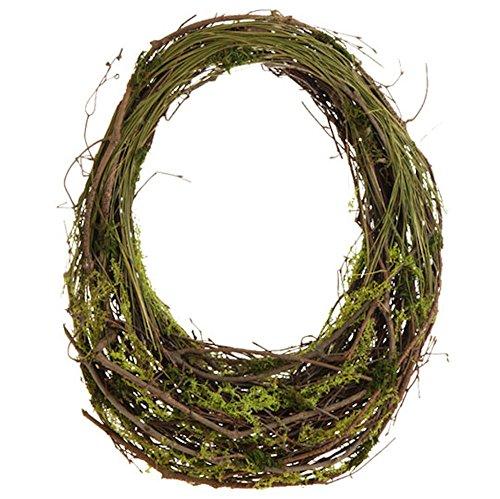 Twig and Green Moss Basket Wall or Door Wreath, 21 X 16 Inchesl