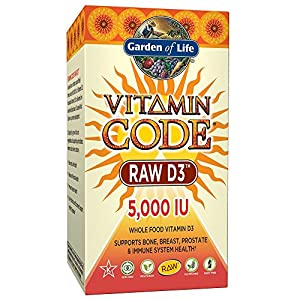 Garden of Life Raw D3 Supplement - Vitamin Code Whole Food Vitamin D3 5000 IU, Dairy and Gluten Free, Vegetarian, 60 Capsules (Color May Vary - Now with Organic Green Cracked Wall Chlorella)
