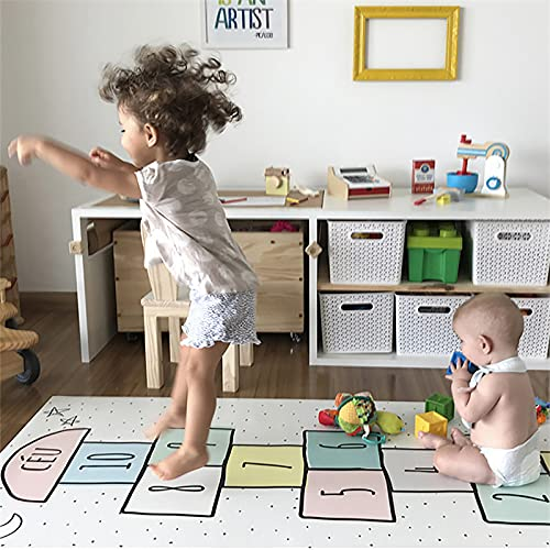 Mortilo Rainbow Sky Game Rugs, Non-Slip Jumping House Mat Soft Durable Woven Wool Floor Carpet for Bedroom, Lovely Indoor or Outdoor Play Carpet for Boys and Girls (C, 40X60cm)