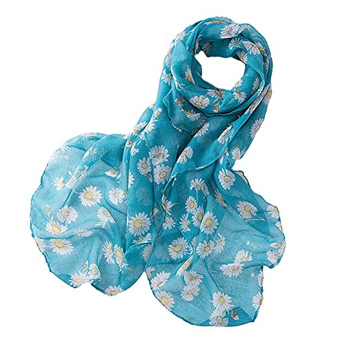Chrysanthemum Floral Print Long Scarf for Women Lightweight Spring Winter Scarves Head Shawl Wraps by Trelemek (Lake Blue) - Chrysanthemum Wrap