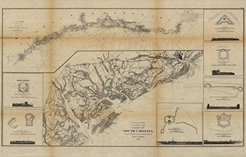 Map: 1862 Coast of South Carolina from Charleston to Hilton Head. Beauregard|Coasts|Fortification|Georgia|South Carolina|