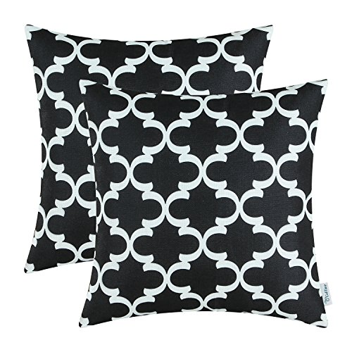 CaliTime Pack of 2 Soft Canvas Throw Pillow Covers Cases for Couch Sofa Home Decor Modern Quatrefoil Accent Geometric 16 X 16 Inches Black