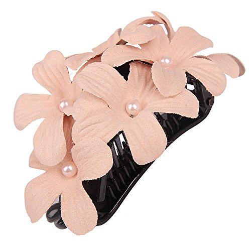 Plumeria Hair Pick (YOUBAMI Hawaiian Plumeria Flower Fabrics Ponytail Holder Banana Hair Clip For Bridal Wedding Party Festivals Women Girls Accessories (Unique Pink))