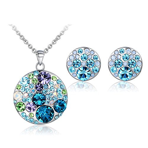 - JiangXin Dazzling Multicolored Austrian Crystal Jewelry Set for Women Pendant Necklace Stud Earring