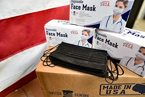 MADE IN USA - ASTM Level 3 Face Masks - 3-ply - 50ct - Adjustable Fit Black