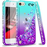 iPod Touch 7 Case, iPod Touch 6 Case, iPod Touch 5 Case with Tempered Glass Screen Protector [2 Pack] for Girls, LeYi Glitter