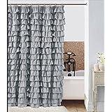 Waterfall Ruffled Fabric Shower Curtain Silver