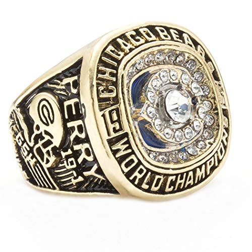1985 Year Mens Titanium Steel Chicago Bears Championship Rings,Size 13