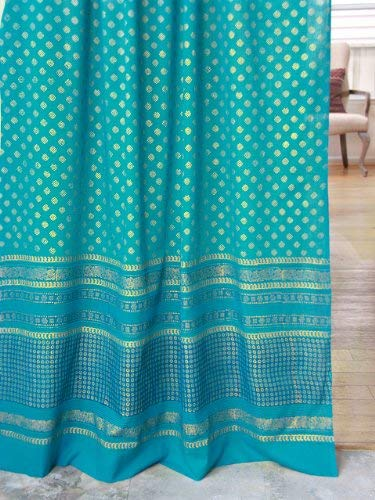 Gossamer Trim - Saffron Marigold Jeweled Peacock Turquoise Long Curtain Panel | Indian Sari Curtains Gold Trim Gossamer Drapes for Living Room, Bedroom, Teal Cotton Voile Window Treatment 46 x 63