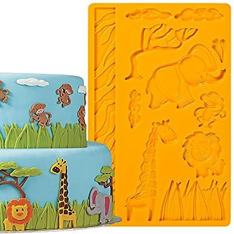 Decoración de Pasteles Herramientas Fondant animales de la selva y pasta de goma molde de silicona para Chocolate Candy arcilla resina: Amazon.es: Hogar