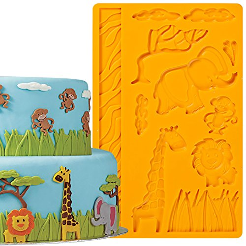 - Cake Decorating Tools Jungle Animals Fondant and Gum Paste Silicone Mold for Chocolate Candy Clay Resin