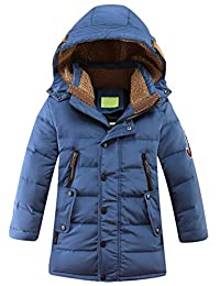 Mallimoda Big Boy's Hooded Bubble Jacket Heavyweight Solid Puffer Coat