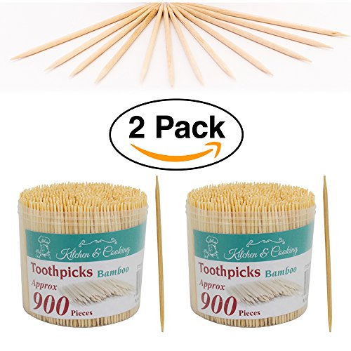 2 Pack - Natural Bamboo Thin Toothpicks 1800 ct. (900ct each)