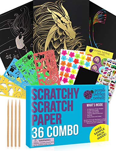 Purple Ladybug Novelty Scratch Paper Combo Art Set for Kids: 36 Big Sheets, 18 Sheets Rainbow +9 Gold+9 Holographic Silver! Includes 4 Stylus Scratchers & Stencils! Fun Art Supplies for Kids!
