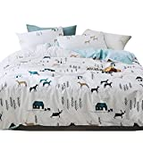 3 Piece Boys Twin Bedding Sets Cartoon Animal Deer Print Duvet Cover Set with Pillowcases for Kids Teen Girls 100% Cotton Reversible Lightweight Child Tree House Home Bedding Duvet Cover White Blue