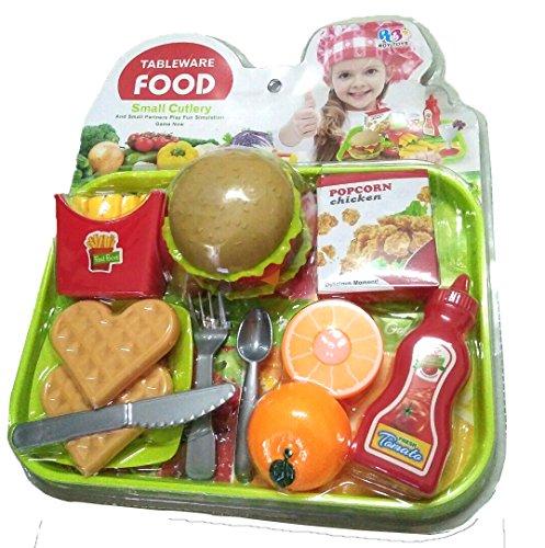 Asian 108 Markets Burger Fries Kid Pretend Play Food Assortment Toy Set, Tableware Food -