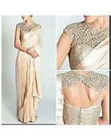 Sunshine Fashion Georgette Saree With Blouse Piece(Sunsa630_Cream Free Size)