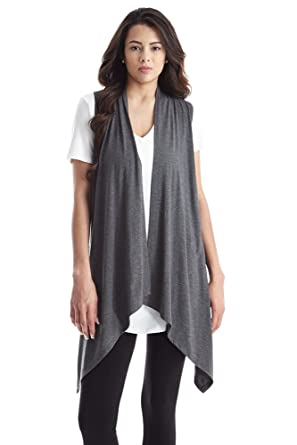 Women Sleeveless Draped Open Front Handkerchief Hem Knit Cardigan ...