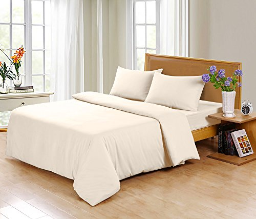 SLEEP GARDEN Bamboo Sheets | 320-Thread-Count | 4 Piece Queen Sheet Set | 100% Bamboo | Hotel Quality | Super Soft | Eco-friendly | GMO Free | Hypoallergenic (Ivory)