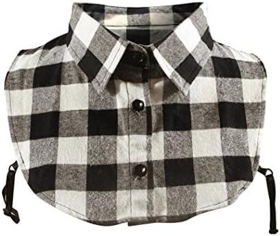 Lenfesh Cuello Falso Camisa, Elegante Falso Cuello Desmontable Patrones Tartán Mitad Camisa Blusa para Mujer (Negro): Amazon.es: Ropa y accesorios