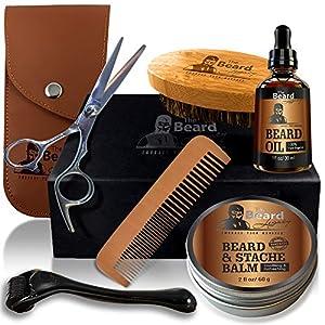 THE BEARD LEGACY Beard Grooming & Trimming Kit, Derma Roller, Beard Brush, Beard Comb, Unscented Beard Oil Leave-in Conditioner, Mustache/Beard Balm Butter Wax, Barber Scissors, Beard Growth Gift Set.