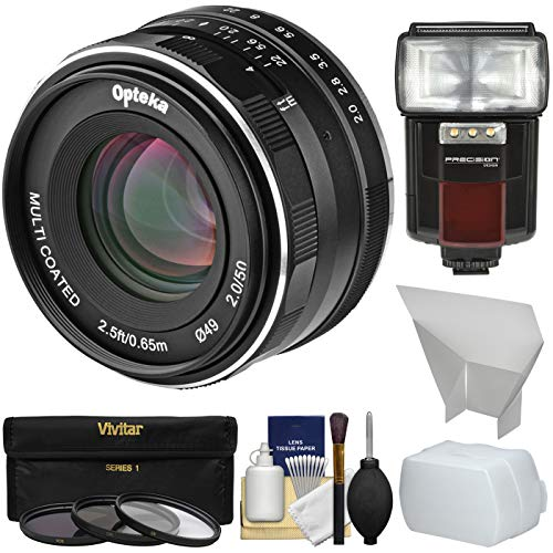Opteka 50mm f/2 HD MF Prime Lens with 3 Filters + Flash + Diffusers Kit for Sony Alpha E-Mount Digital Cameras by Opteka (Image #8)