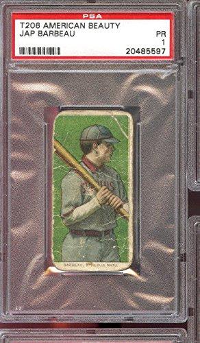 1909 1910 T206 American Beauty Tobacco Jap Barbeau PSA 1 Graded Baseball ()