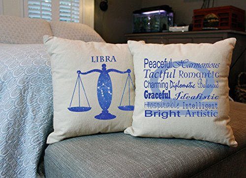 RoomCraft Set of 2 Libra Throw Pillows - 20x20 Natural Color Zodiac Sign Shams Cushions