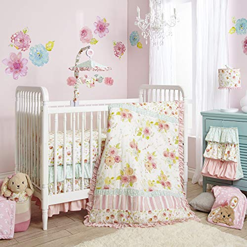 (Happi by Dena Sweet Spring Floral 4 Piece Crib Bedding Set, Pink/White)