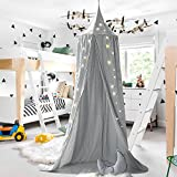 M&M Mymoon Bed Canopy Reading Nook Tent Dome Mosquito Net Hanging Decoration Indoor Game House for Baby Kids (Grey)