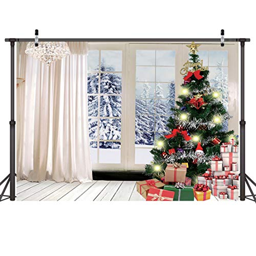 LYWYGG 7X5FT Christmas Tree Gift Backdrop Indoor Wooden Floor Curtains Background Snow Tree Outside The Window Photography Photo Backdrop Winter Snowflake Pine Snowy CP-76