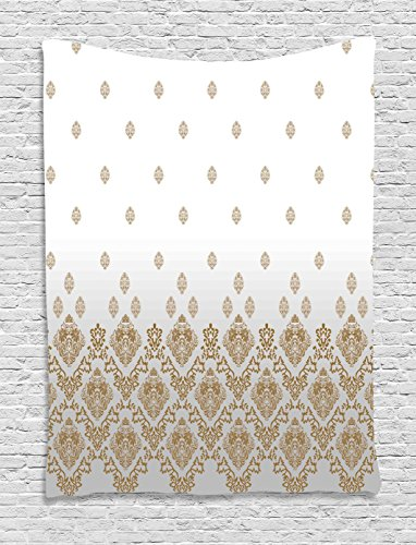 Ambesonne Victorian Tapestry, Damask Decorations Vintage Romantic Country Home Style Ombre Floral Art, Wall Hanging for Bedroom Living Room Dorm, 60 W x 80 L Inches, Gold Gray and (Damask Tapestry)