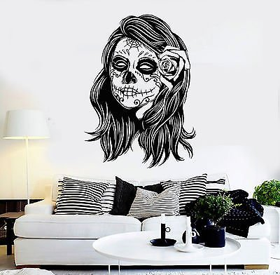 Vinyl Wall Decal Woman Calaveras Makeup Mexico Day of the Dead Stickers (vs4576) -