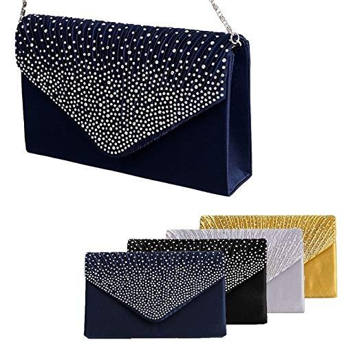 Clutch Evening Satin Blue Frosted Silver Bag Women Sparkling Purse Dark Rhinestone Handbag Digital baby Bag ALI WqHTOz