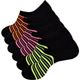 KONY Mens 6 Pack Thin Cotton Casual No Show Socks Non Slip Mesh Flat Boat Low Cut Socks Size 10-13 (Black Neon)