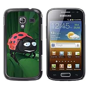 LECELL -- Funda protectora / Cubierta / Piel For Samsung Galaxy Ace 2 I8160 Ace II X S7560M -- Funny Ladybug On Leaf --