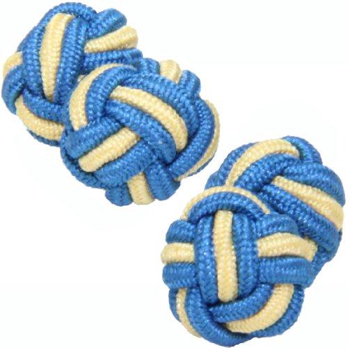 Petrol Blue & Light Yellow Silk Knot Cufflinks | Cuffs & Co
