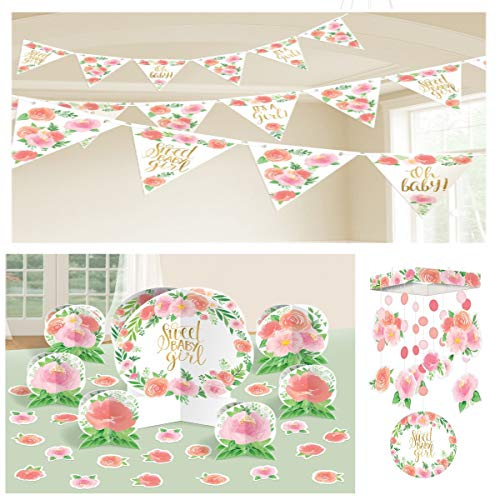 Baby Girl Shower Floral Decorating Kit:ÊChandelier Type Hanging Decoration, Table Decorating Kit and A Pennant Banner, Pink and Peach Floral]()