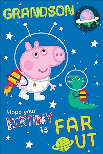 (Peppa Pig Grandson Birthday Card With Badge)
