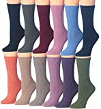 Tipi Toe Women's 12-Pairs Ragg Marled Crew Wool-Blend Hikking Boot Socks, (sock size 9-11) Fits shoe size 6-9,BT16-AB