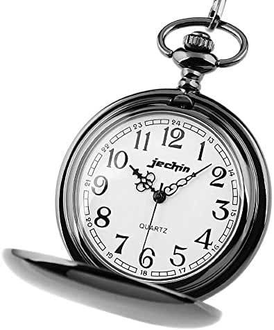 Jechin Classic Retro Smooth Gun Black Full Hunter Pocket Watch with 14'' Stainless Steel Chain