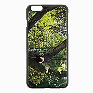 iPhone 6 Plus Black Hardshell Case 5.5inch - panda grass leaves tree Desin Images Protector Back Cover