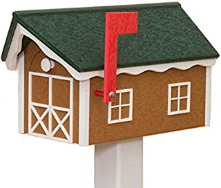 product image for Recycled Poly Plastic Barn Mailbox USA Handmade (Turf & White)