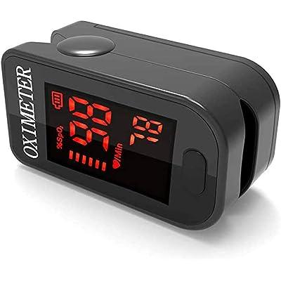 Monitor de oxígeno de dedo, oxímetro de pulso Monitor de saturación de oxígeno Spo2 para oxímetro de pulso para adultos y niños con pantalla LED con cordón