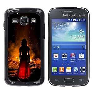 Caucho caso de Shell duro de la cubierta de accesorios de protección BY RAYDREAMMM - Samsung Galaxy Ace 3 GT-S7270 GT-S7275 GT-S7272 - Woman Fire Red Dress Fashion