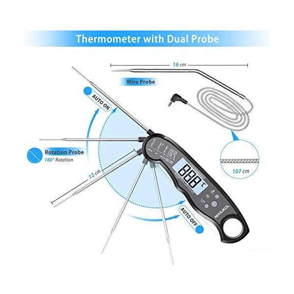 NIXIUKOL Termometro Cucina Digitale Lettura Istantanea Termometro Barbecue con 2 Acciaio Inossidabile Sonda, Display LCD… 2