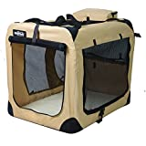 """EliteField 3-Door Folding Soft Dog Crate, Indoor & Outdoor Pet Home, Multiple Sizes and Colors Available (24""""L x 18""""W x 21""""H, Beige)"""