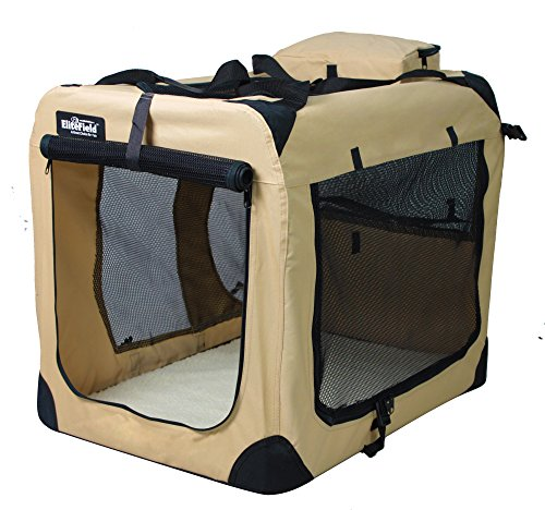 EliteField 3-Door Folding Soft Dog Crate, Indoor & Outdoor Pet Home, Multiple Sizes and Colors Available (42'L x 28'W x 32'H, Beige)