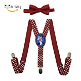 Xiacai Cat In Patriotic Hat Suspender&Bow Tie Set Adjustable Clip-On Y-Suspender Children